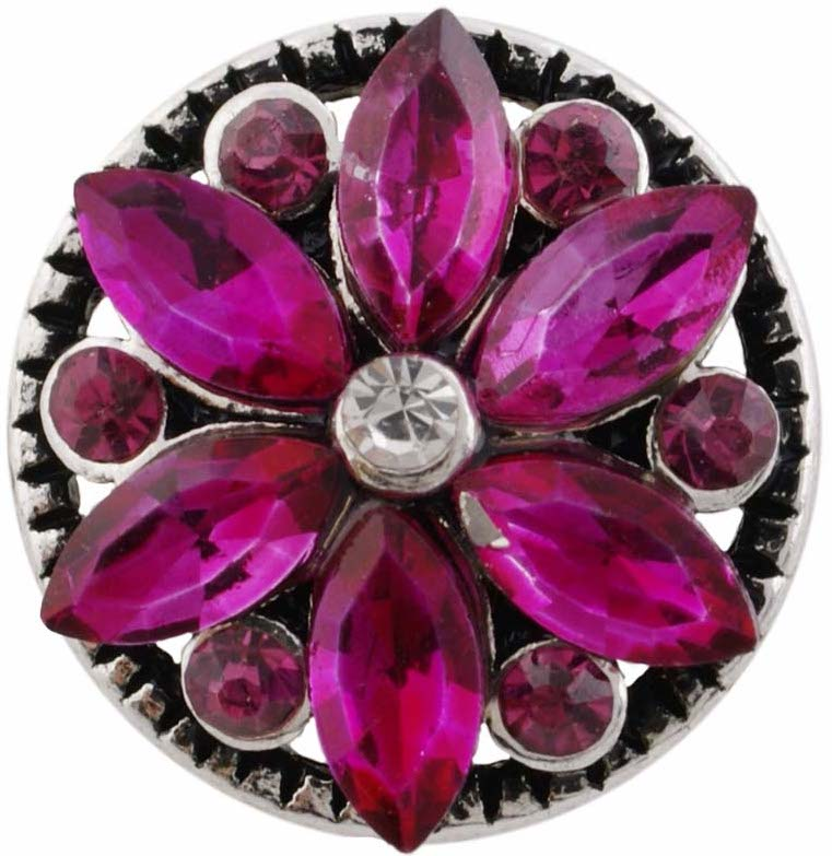 12mm Deep Pink Crystal Flower Snap
