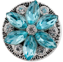 Load image into Gallery viewer, 12mm Teal Crystal Flower Snap