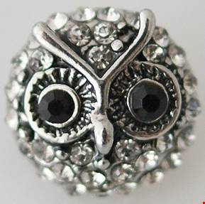 12mm Clear Crystal Owl Snap