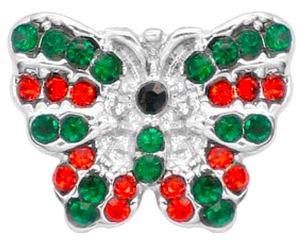 12mm Red & Green Crystal Butterfly Snap