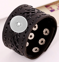 Load image into Gallery viewer, 18/20mm Black Weave Decorative Wide Cuff Leather Bracelet