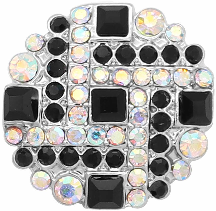 18/20mm Brilliant Black & Iridescent Multi Crystal Snap