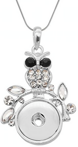 18/20mm Wise Crystal Embellished Owl Necklace