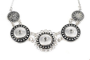18/20mm 3 Snap Vintage Inspired Stainless Steel w/Swarovski Crystals Necklace