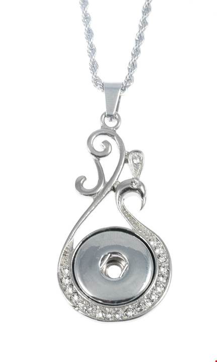 18/20mm 1 Snap Vintage Inspired Wave Stainless Steel w/Swarovski Crystals Necklace