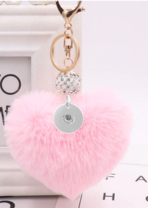 "18/20mm ""Fun-Key"" Fluffy Light Pink Heart Snap Keychain"