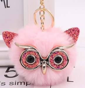 "18/20mm ""Fun-Key"" Fluffy Pink Glitter Owl Snap Keychain"