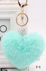"18/20mm ""Fun-Key"" Fluffy Teal Heart Snap Keychain"