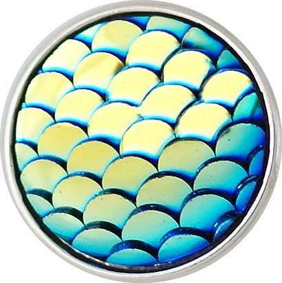 12mm Blue Shimmer Mermaid Scales Snap