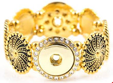 Load image into Gallery viewer, 18/20mm Gold Plated Over Stainless Steel w/Swarovski Crystal 4 Snap Stretch Bracelet