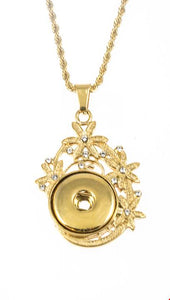 18/20mm 1 Snap Vintage Inspired Gold Star Drop Stainless Steel w/Swarovski Crystals Necklace