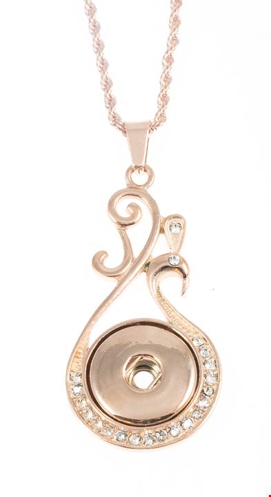 18/20mm 1 Snap Vintage Inspired Rose Gold Wave Stainless Steel w/Swarovski Crystals Necklace