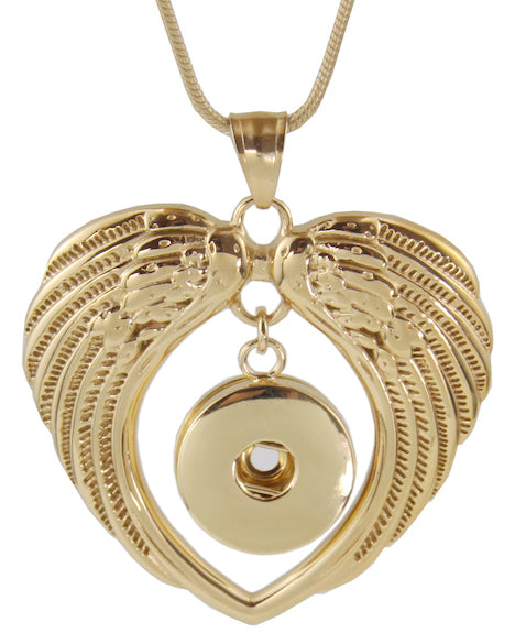 18/20mm Gold Double Wing Necklace