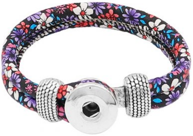 18/20mm Fun Florals Purple Flowers Double Wrap Bracelet