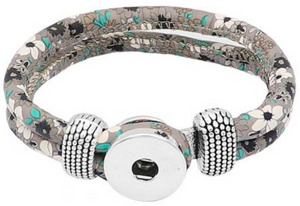 18/20mm Fun Florals Light Gray with Teal & White Flowers Double Wrap Bracelet