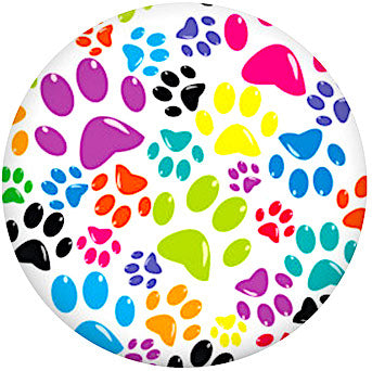 18/20mm Colorful Multi-Paw Print Snap