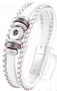 12mm White Twisted Braid 1 Snap Leather Snap Bracelet