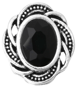 12mm Silver Swirl With Black Crystal Snap