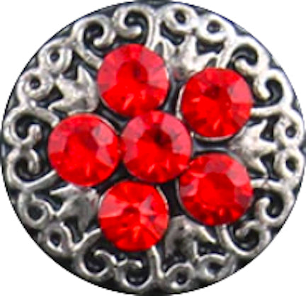 12mm Silver Swirls With Red Crystals Snap