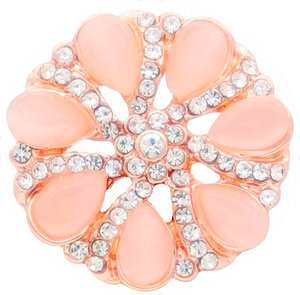 18/20mm Peach With Clear Crystals Swirl Bling Snap