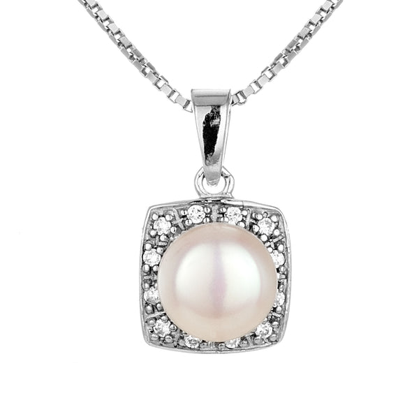 Fresh Water Pearl Square Pendant Necklace in Sterling Silver
