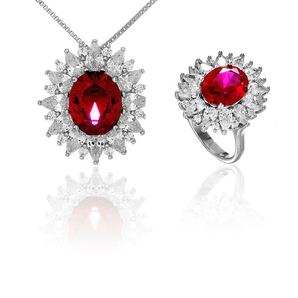 Ruby Red Sunshine Princess Necklace & Ring Jewellery Set in Sterling Silver