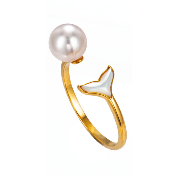 18K Gold Mermaid Tail Ring with Akoya Sea Water Pearl