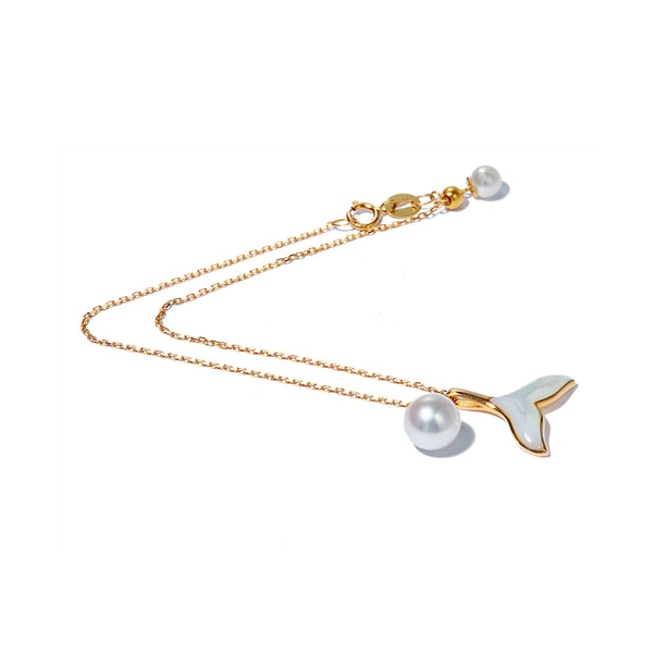 18K Gold Mermaid Tail Adjustable Bracelet with Akoya Sea Water Pearl