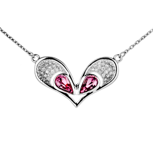Double Heart Hollow Out Pink Necklace in Sterling Silver