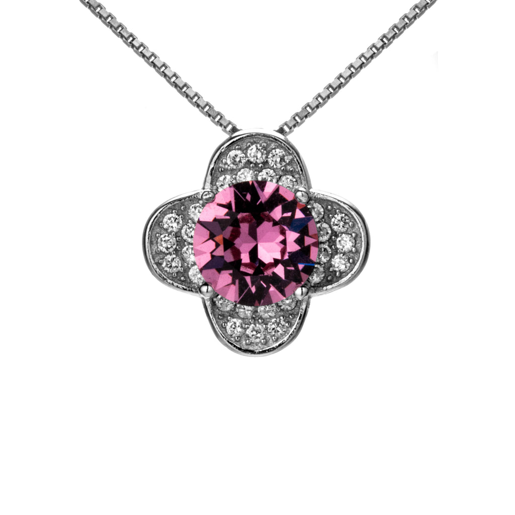 Dazzling Lucky Flower Blossom Neklace with Pink Crystal in Sterling Silver