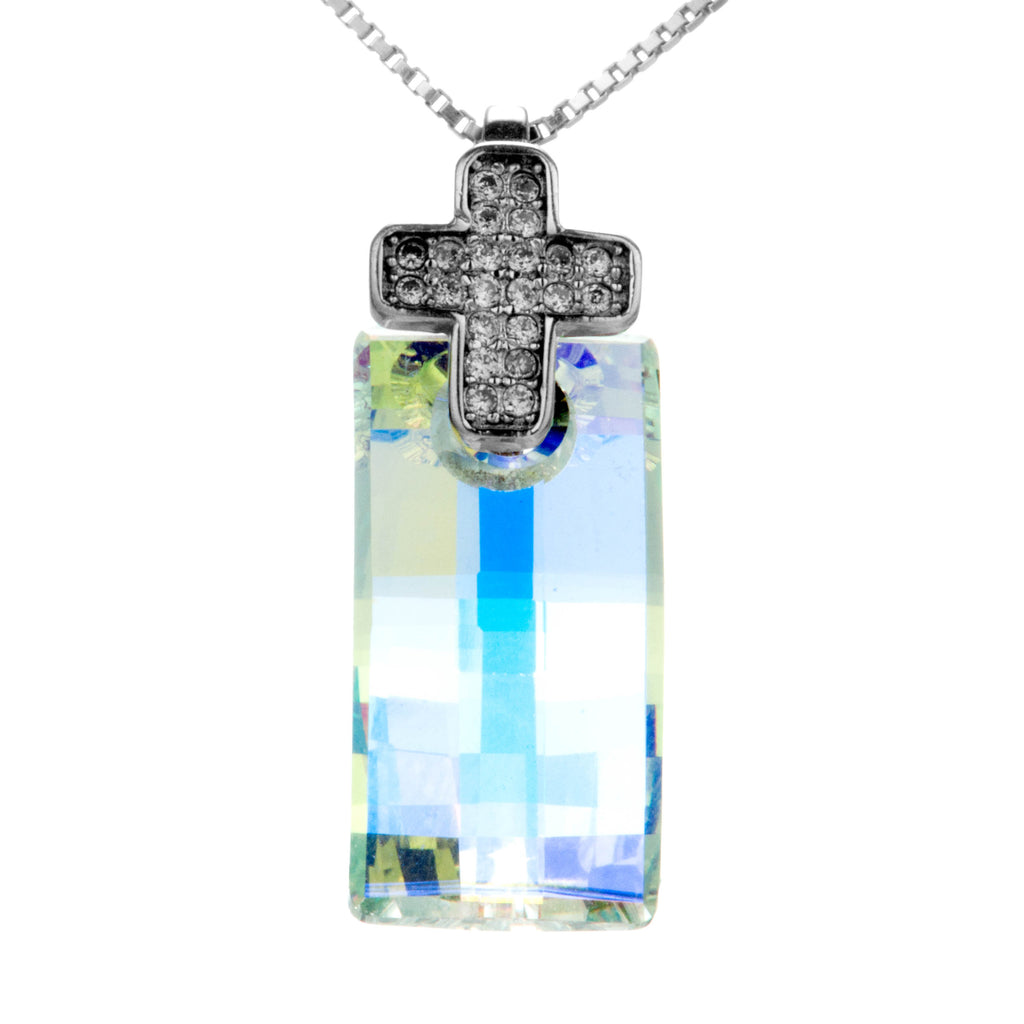 Dazzling Clear Crystal Necklace with Cross Hook in Sterling Silver