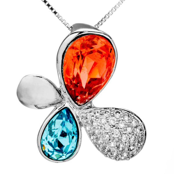 Multicolored Orange Blue Butterfly Flower Crystal Necklace in Sterling Silver