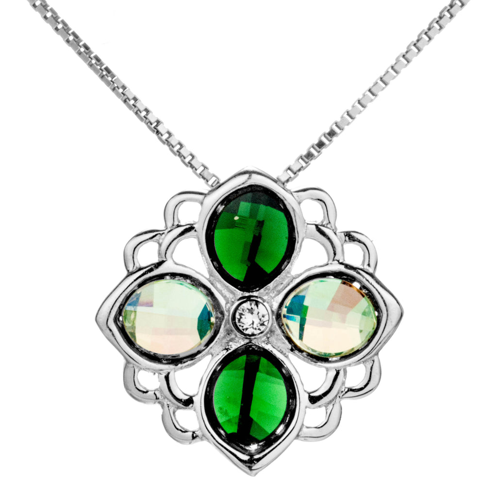 Irregular Floral Lucky Clover with Green Crystal Necklace in Sterling Silver
