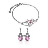 Eiffel Tower Baby Pink Crystal Bracelet & Earrings Set in Sterling Silver