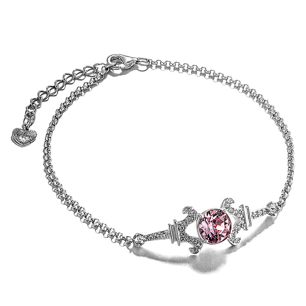 Charm of Paris Eiffel Tower Bracelet with Baby Pink Crystal in Sterling Silver
