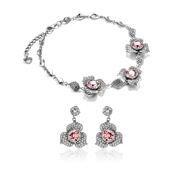Poetic Blossom  Petals Flower Bracelet & Earrings Set with Baby Pink Crystal in Sterling Silver