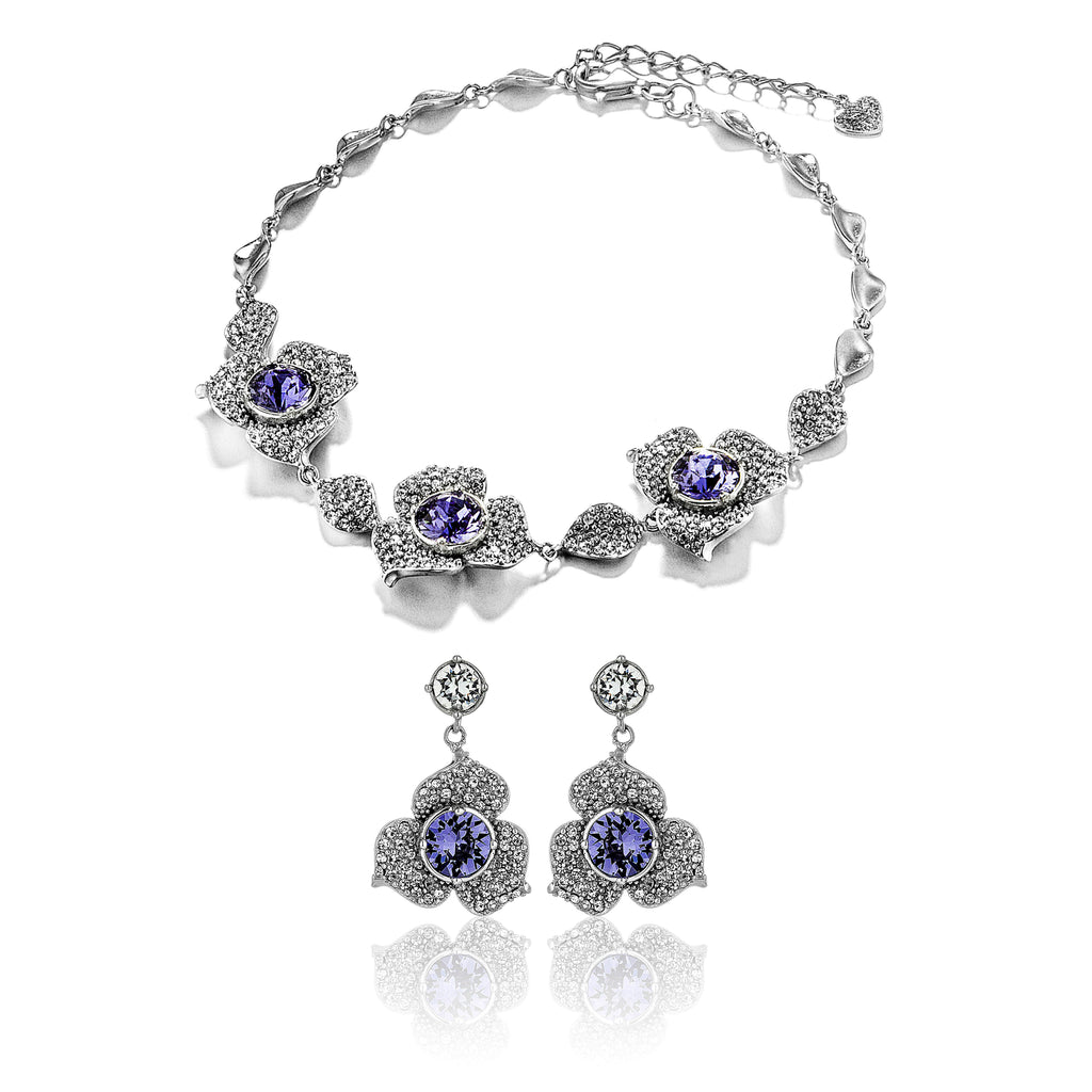 Poetic Blossom  Petals Flower Bracelet & Earrings Set with Purple Crystal in Sterling Silver