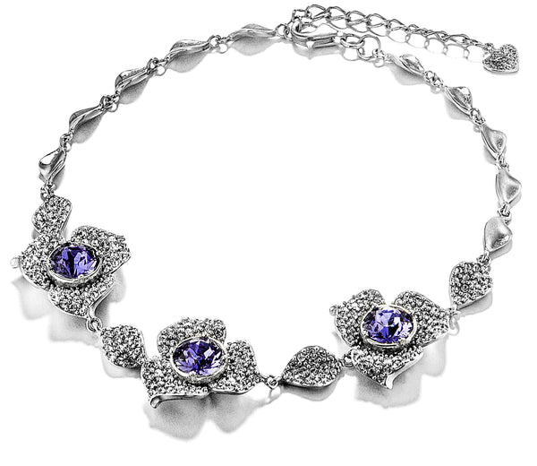 Poetic Blooming Petals Flower Bracelet with Amethyst Purple Crystal in Sterling Silver