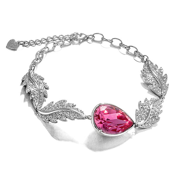 Feather Waves Teardrop Bracelet with Pink Crystal in Sterling Silver