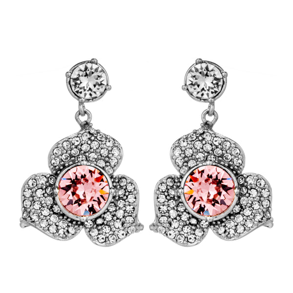 Flower Drop Earrings with Baby Pink Crystal in Sterling Silver