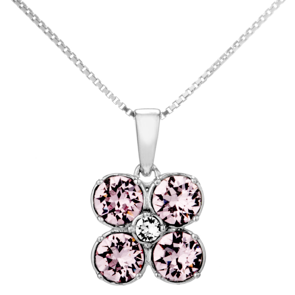 Flower Pendant Necklace with Pink Crystal in Sterling Silver