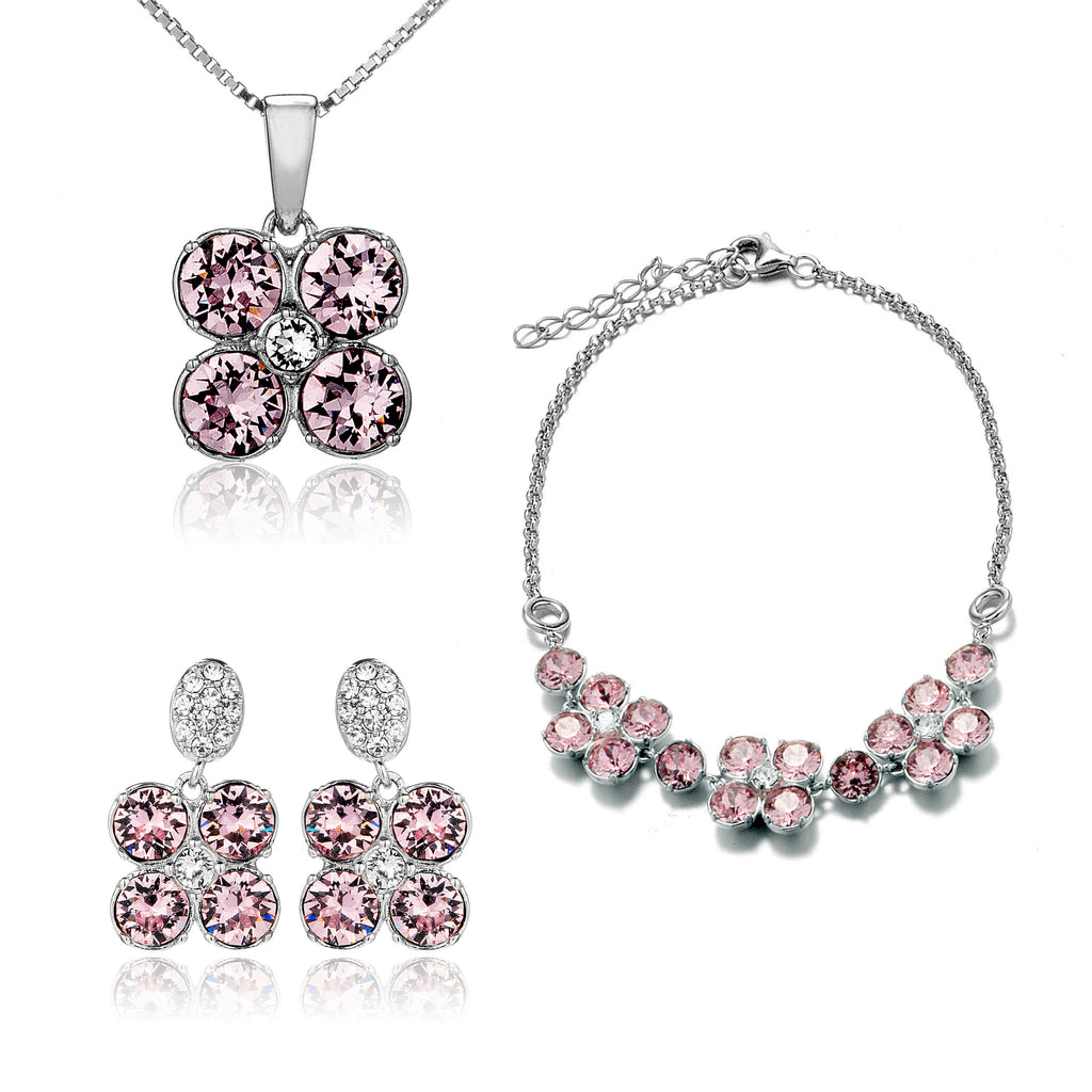 Cherry Blossoms Bracelet, Earrings & Necklace Set with Light Pink Crystal in Sterling Silver