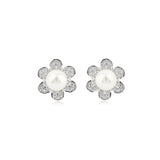 Sun Flower Shines Crystal Stud Earrings with Fresh Water Pearl in Sterling Silver
