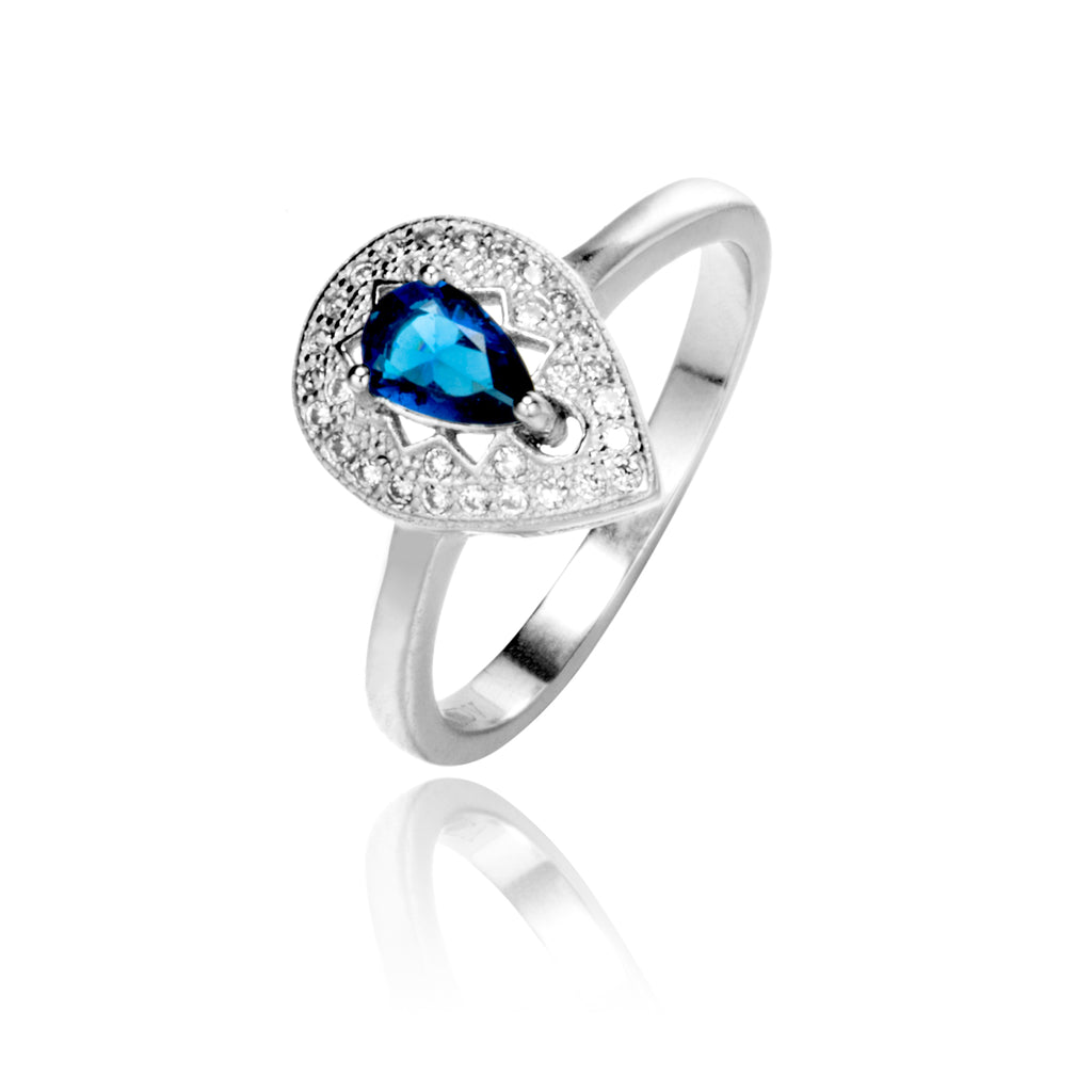 Pear Shaped Halo Ring with Blue Crystal in Sterling Silver