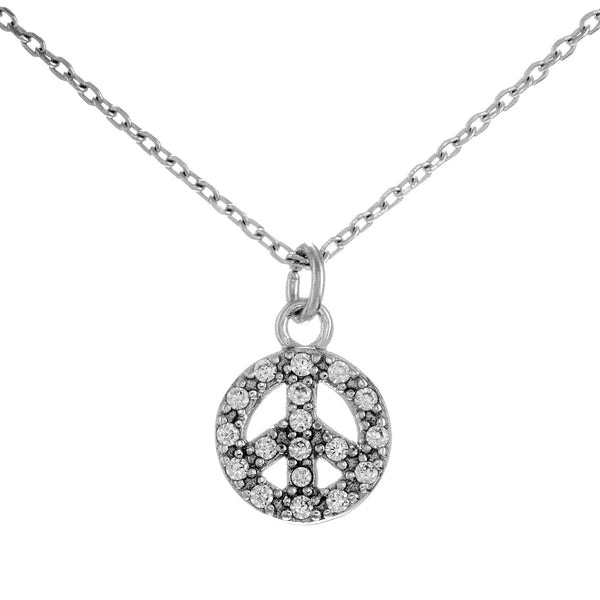 Iconic Peace Crystal Pendant Necklace in Sterling Silver