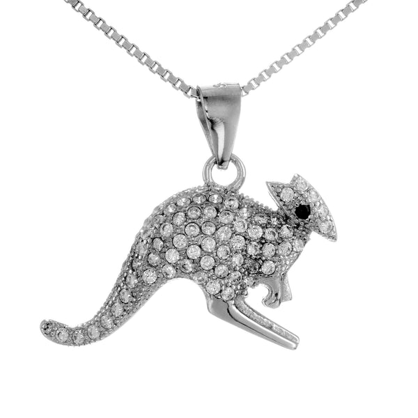 Sparky Australian Kangaroo Pendant Necklace in Sterling Silver
