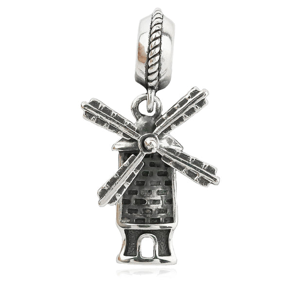 Dutch Windmill Vintage Hanging Charm in Sterling Silver