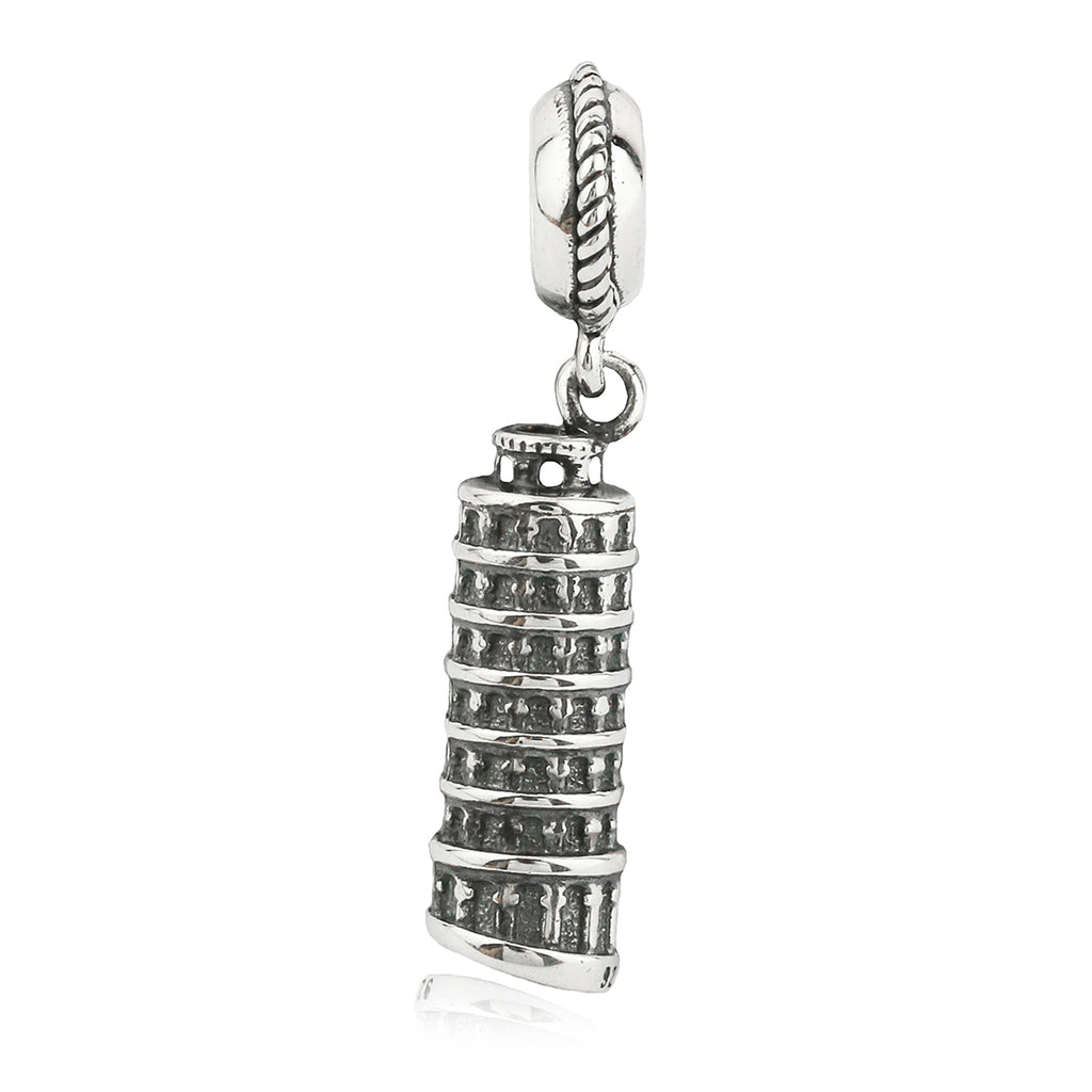 Italy Leaning Tower of Pisa Hanging Charm in Sterling Silver