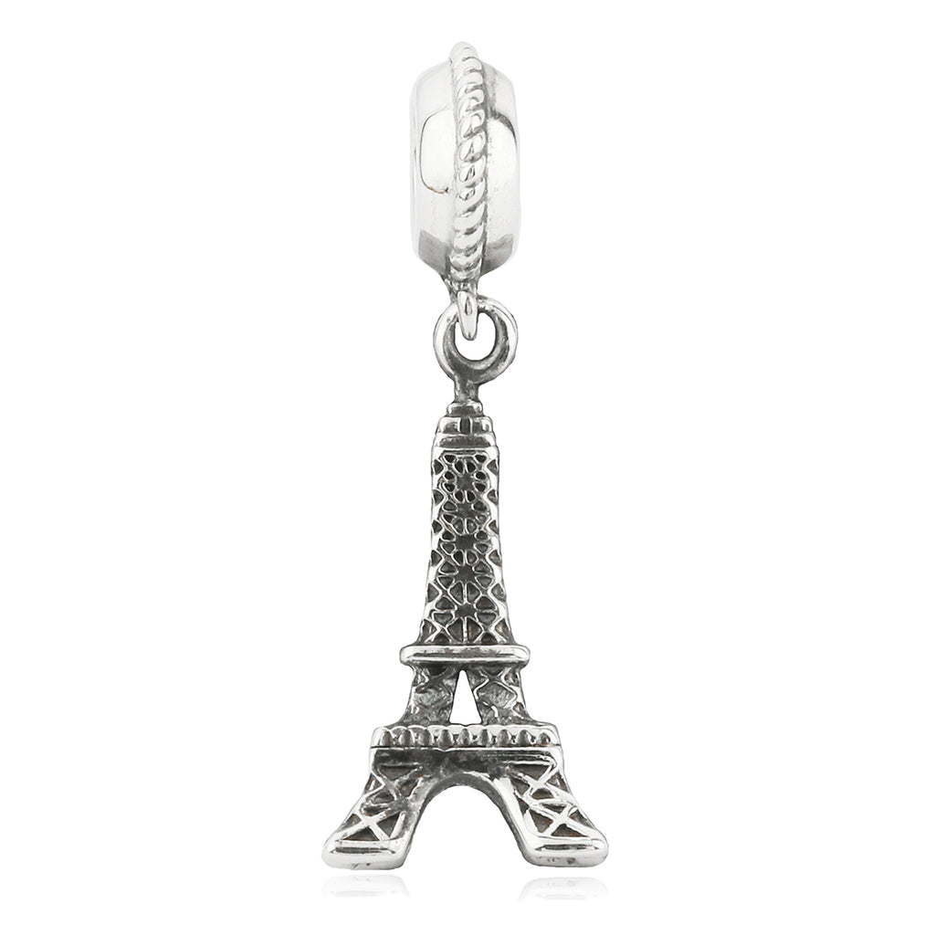 The Eiffel Tower Paris Vintage Hanging Charm in Sterling Silver