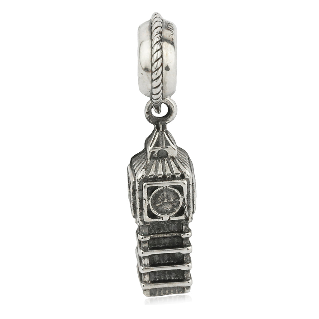 Vintage London Landmark Big Ben Tower Clock Hanging Charm in Sterling Silver